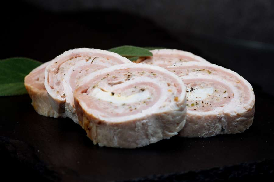 Chicken roulades filled with a pork, bacon and coriander farcie