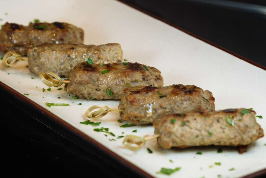 Grilled beef brochettes