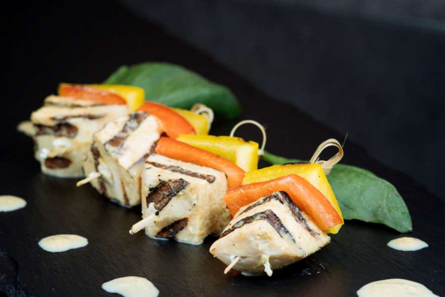 Thai green curry marinated chicken and bell pepper skewers