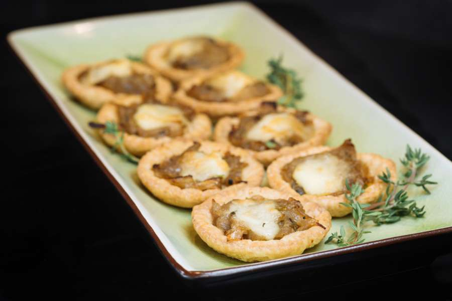 Caramelised onion and Brie tartlet