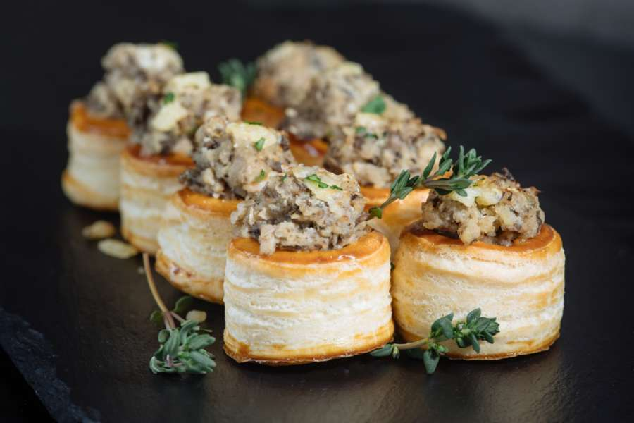 Bouchees filled with sautéed mushrooms and chicken