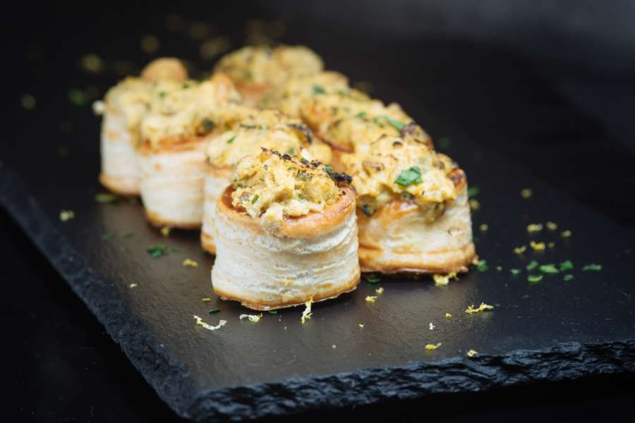 Bouchees filled with creamy prawn and crab bisque