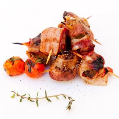 Liver wrapped in bacon skewers - Elia Caterers