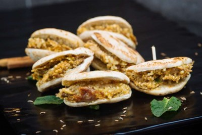 Lamb arayes & couscous in pita bread - Elia Caterers