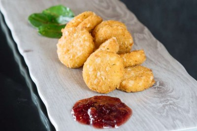 Oat crusted deep fried Camembert - Elia Caterers