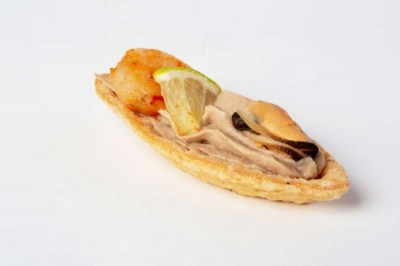 Seafood on tuna mousse barquettes - Elia Caterers